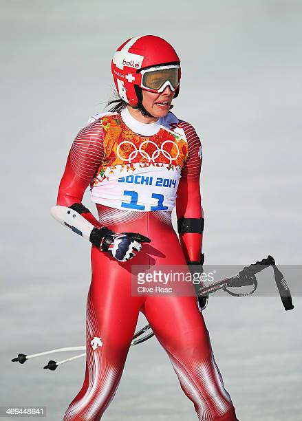 Dominique Gisin of Switzerland reacts after a run during the Alpine Skiing Women's SuperG on day 8 of the Sochi 2014 Winter Olympics at Rosa Khutor...