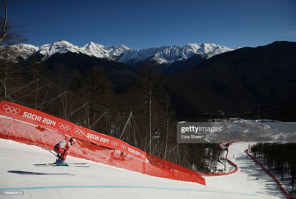 Dominique Gisin of Switzerland skis during the Alpine Skiing Women's Downhill on day 5 of the Sochi 2014 Winter Olympics at Rosa Khutor Alpine Center on February 12, 2014 in Sochi, Russia.
