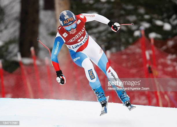 Dominique Gisin of Switzerland skis during the Audi FIS Alpine Ski World Cup Women's Downhill on December 3 2011 in Lake Louise Canada