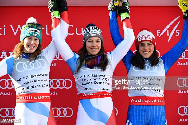 Dominique Gisin of Switzerland takes 2nd place Wendy Holdener of Switzerland wins the globe in the women alpine combined standing Federica Brignone...