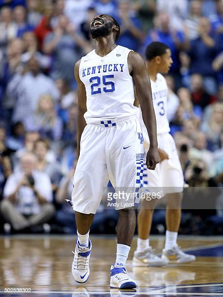Dominique Hawkins of the Kentucky Wildcats celebrates against the Louisville Cardinals at Rupp Arena on December 26, 2015 in Lexington, Kentucky.