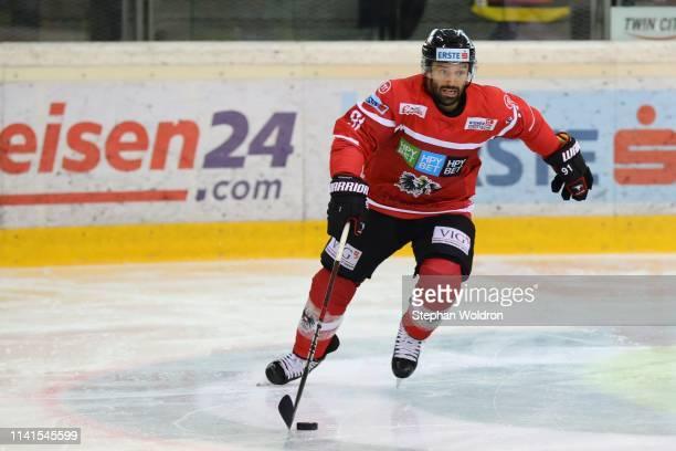 Dominique Heinrich of Austria during the Austria v Denmark - Ice Hockey International Friendly at Erste Bank Arena on May 5, 2019 in Vienna, Austria.