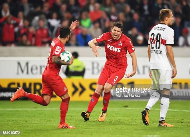 Dominique Heintz of 1FC Koeln celebrates after scoring a goal during the Bundesliga match between VfB Stuttgart and 1 FC Koeln at MercedesBenz Arena...