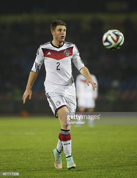 Dominique Heintz of Germany in action during the UEFA U21 Championship First Leg Playoff between Ukraine and Germany at the KP Tcentralnyi Stadium on...