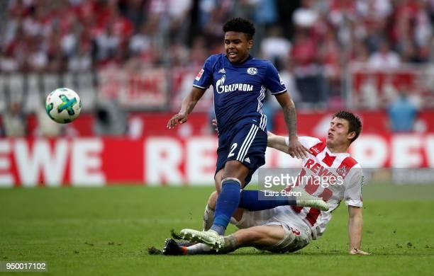 Dominique Heintz of Koeln and Weston McKennie of Schalke battle for the ball during the Bundesliga match between 1. FC Koeln and FC Schalke 04 at...