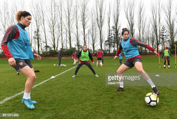 Dominique Janssen and Ava Kuyken of Arsenal during an Arsenal Women Training Session at London Colney on March 12 2018 in St Albans England