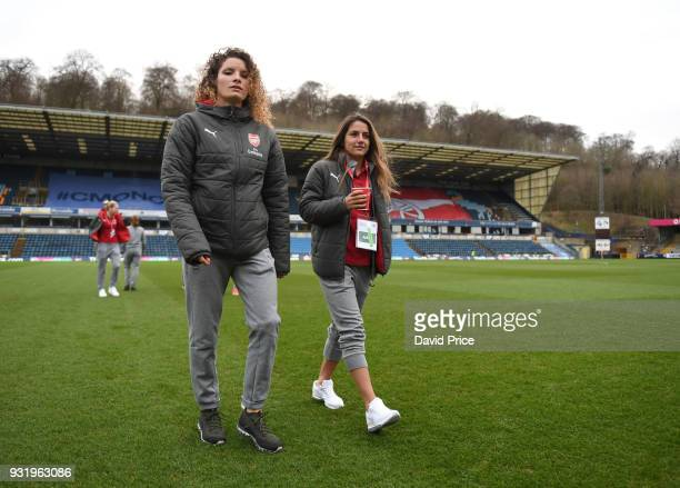 Dominique Janssen and Danielle van de Donk of Arsenal check out the pitch before the match between Arsenal Women and Manchester City Ladies at Adams...
