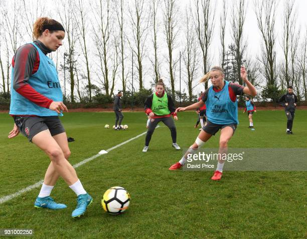 Dominique Janssen and Leah Williamson of Arsenal during an Arsenal Women Training Session at London Colney on March 12 2018 in St Albans England