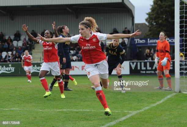 Dominique Janssen celebrates scoring a goal for Arsenal during the match between Arsenal Ladies and Tottenham Hotspur Ladies on March 19 2017 in...