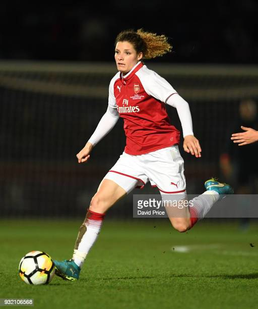 Dominique Janssen of Arsenal during the match between Arsenal Women and Manchester City Ladies at Adams Park on March 14 2018 in High Wycombe England