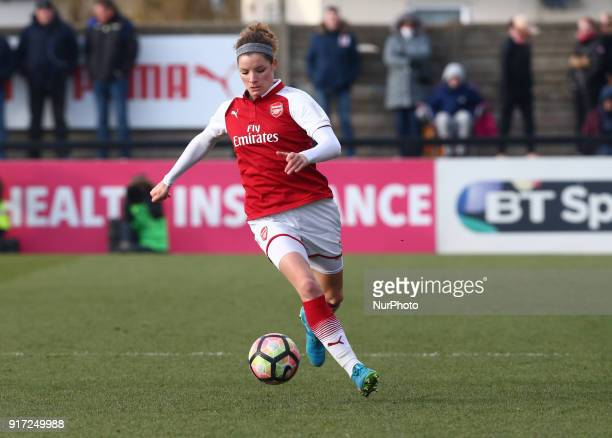 Dominique Janssen of Arsenal during Women's Super League 1match between Arsenal against Yeovil Town Ladies at Meadow Park Boreham wood FC on 10 Feb...