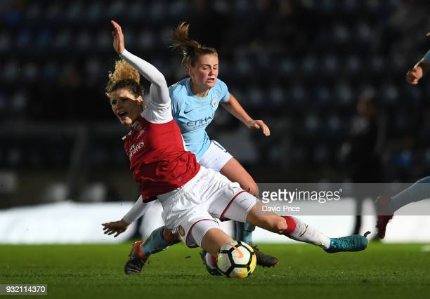Dominique Janssen of Arsenal is fouled by Georgia Stanway of Man City during the match between Arsenal Women and Manchester City Ladies at Adams Park...