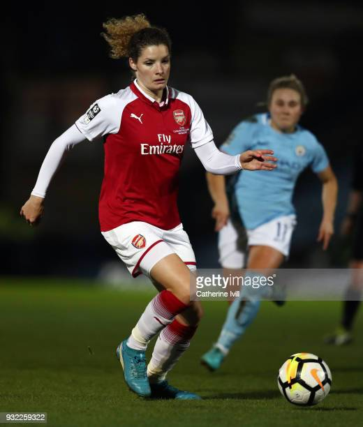 Dominique Janssen of Arsenal Women during the WSL Continental Cup Final between Arsenal Women and Manchester City Ladies at Adams Park on March 14...