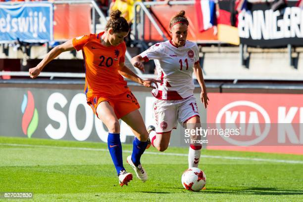 Dominique Janssen of Holland Women Katrine Veje of Denmark women during the UEFA WEURO 2017 final match between The Netherlands and Denmark at the...