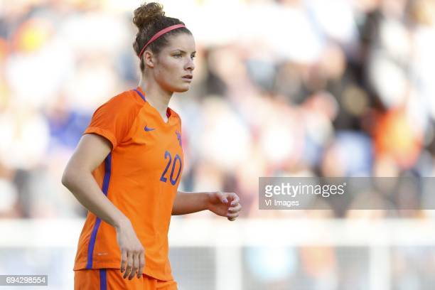 Dominique Janssen of the Netherlandsduring the friendly match between the women of The Netherlands and Japan at the Rat Verlegh stadium on June 9...