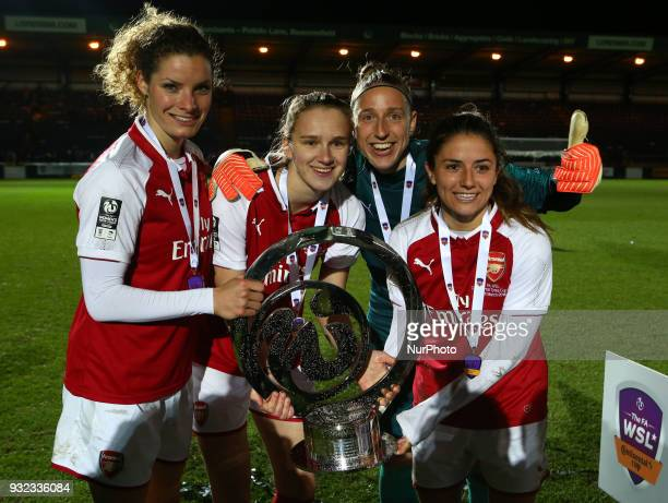 LR Dominique Janssen Vivianne Miedema Sari van Veenendaal and Danielle van de Donk of Arsenal with Trophy After The FA WSL Continental Tyres Cup...