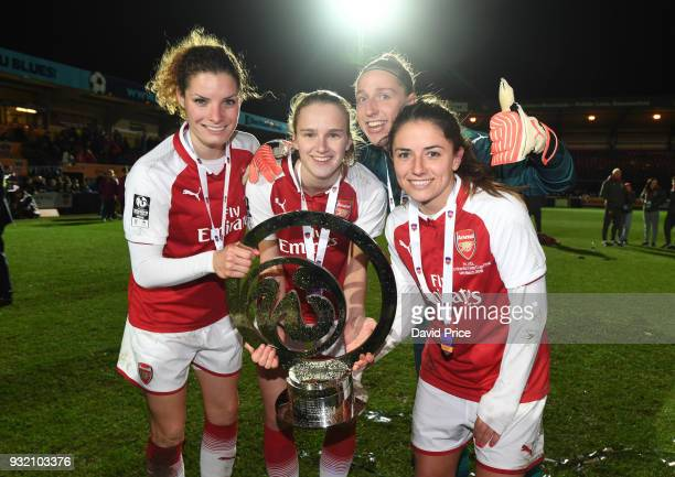 Dominique Janssen Vivianne Miedema Sari van Veenendall and Danielle van de Donk of Arsenal with the Continenal Cup Trophy after the match between...