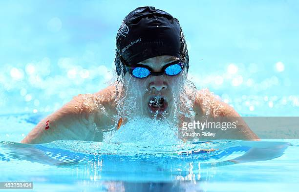Dominique Lafleur of Canada competes in the Women's 200m Individual Medley at Parc JeanDrapeau during the 15th FINA World Masters Championships on...