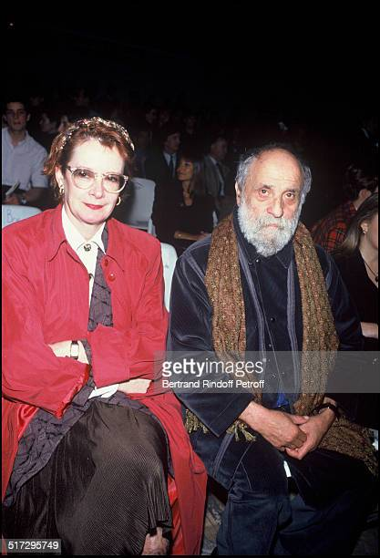 Dominique Lavanant and the sculptor Cesar People Jean Charles Castelbajac ready to wear fashion show fall winter 1992 in Paris