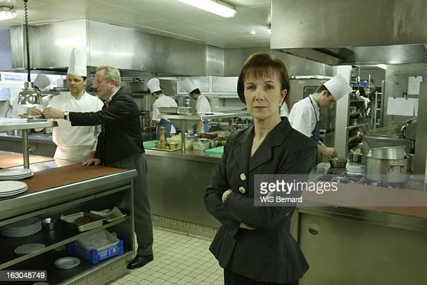 Dominique Loiseau At The Restaurant Cote D'Or. Dominique LOISEAU posant de face bras croisés dans les cuisines du restaurant LA COTE D'OR à SAULIEU...