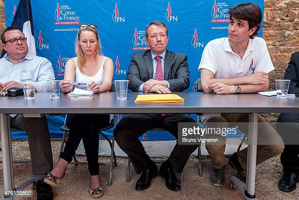 Dominique Martin Marion Marechal Le Pen National Front Deputy of Vaucluse Christophe Boudot and Gatan Dussausaye in ArssurFormans to attend the...