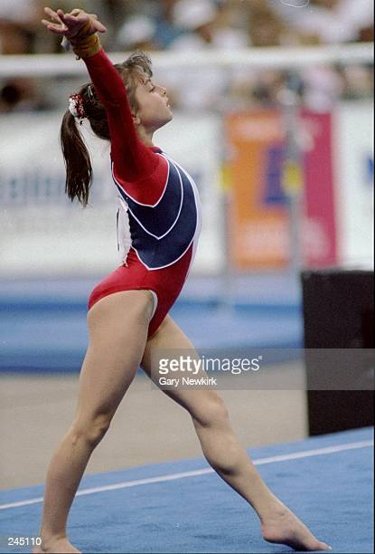 Dominique Moceanu does her floor exercise during the Olympic Festival Mandatory Credit Gary Newkirk /Allsport