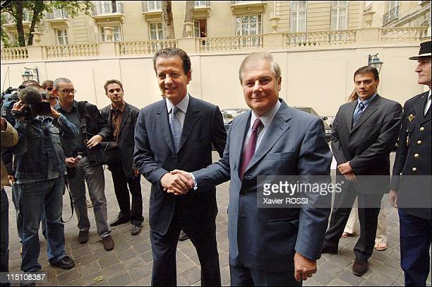 Dominique Perben hands office to Pascal Clement new French minister of Justice in Paris France on June 03 2005