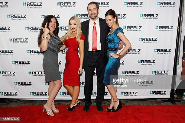 Dominique Pinassi Aria Johnson and Cory Oliver of Beverly Hills Pawn pose with Senior Vice President of Advertising Sales at Reelz Bill Rosolie at...