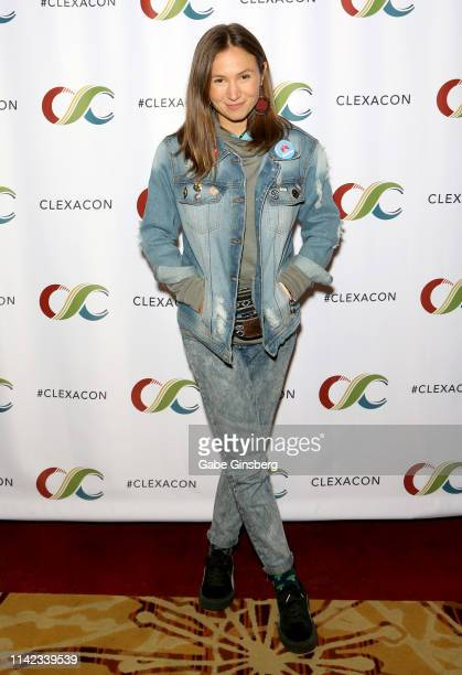 Dominique ProvostChalkley attends the ClexaCon 2019 convention at the Tropicana Las Vegas on April 12 2019 in Las Vegas Nevada