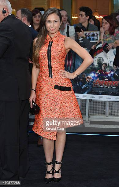 Dominique ProvostChalkley attends the European premiere of 'The Avengers Age Of Ultron' at Westfield London on April 21 2015 in London England
