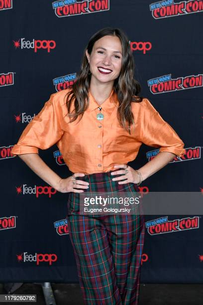 Dominique ProvostChalkley attends the press line at SYFY IDW Entertainment's Wynonna Earp Panel during New York Comic Con 2019 Day 3 at Jacob K...