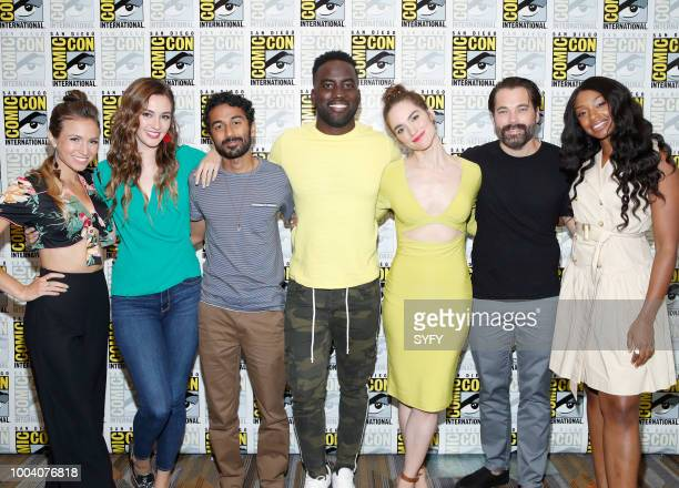 DIEGO Dominique ProvostChalkley Katherine Barrell Varun Saranga Melanie Scrofano Tim Rozon and Chantel Riley attend the Wynonna Earp Press Room...