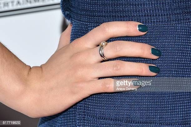 Dominique ProvostChalkley ring and nail detail attends the premiere of Syfy's 'Wynonna Earp' at WonderCon 2016 at Regal LA Live Stadium 14 on March...