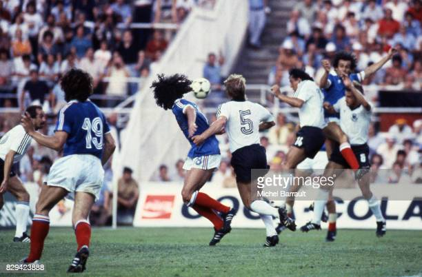Dominique Rocheteau of France and Bernd Foerster of Germany during Semi Final World Cup match between West Germany and France 8th July 1982 in Ramon...