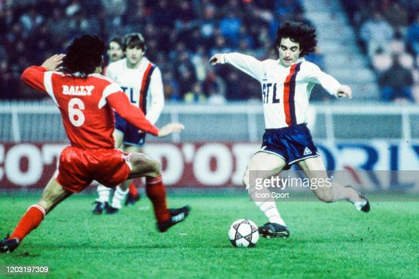 Dominique ROCHETEAU of PSG and Marcel DIB of Monaco during the Division1 match between PSG and Monaco on 11 April 1986 at Parc Des Princes in Paris...