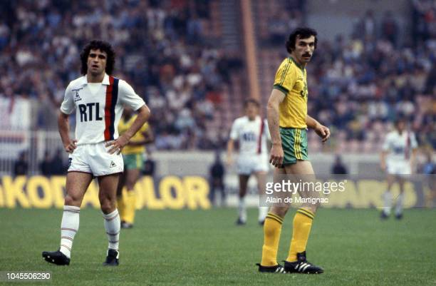 Dominique Rocheteau of PSG and Maxime Bossis of Nantes during the French cup match between Paris Saint Germain and Nantes on June 11 1983 in Paris...