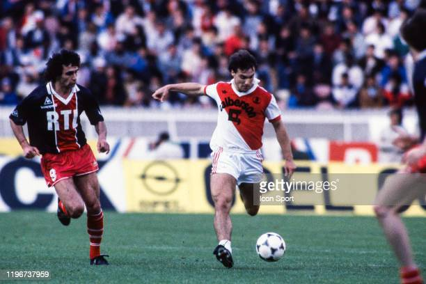 Dominique ROCHETEAU of PSG and Philippe TIBEUF of Monaco during the French Final Cup match between AS Monaco and Paris Saint Germain at Parc des...