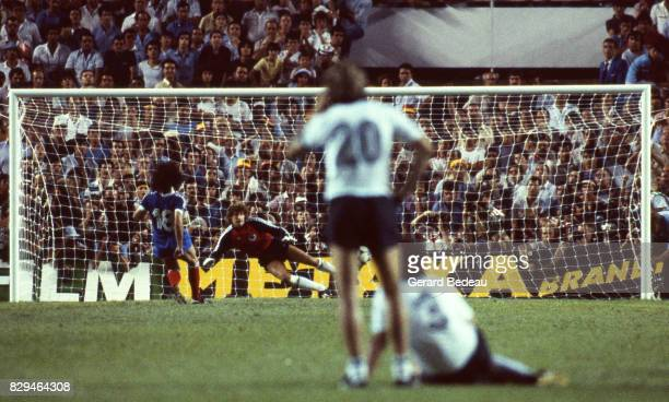 Dominique Rocheteau score a penalty Harald Schumacher of Germany during of the game Semi Final World Cup match between West Germany and France 8th...