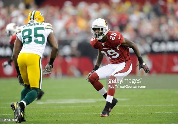 Dominique Rodgers-Cromartie of the Arizona Cardinals defends against Greg Jennings of the Green Bay Packers in the NFC wild-card playoff game at...