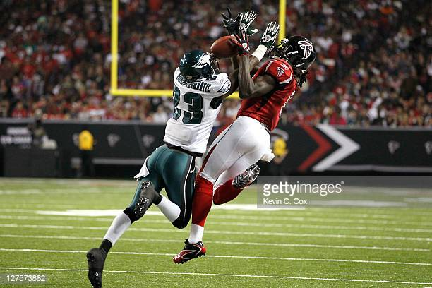 Dominique RodgersCromartie of the Philadelphia Eagles breaks up a pass intended for Julio Jones of the Atlanta Falcons at Georgia Dome on September...