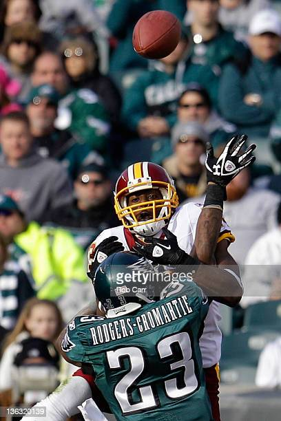 Dominique Rodgers-Cromartie of the Philadelphia Eagles breaks up a pass intended for Anthony Armstrong of the Washington Redskins during the first...