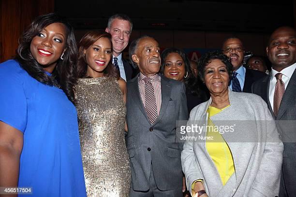 Dominique Sharpton, Aisha McShaw, NYC Mayor Bill de Blasio, Reverend Al Sharpton, Ashley Sharpton and Aretha Franklin celebrate Al Sharpton's 60th...