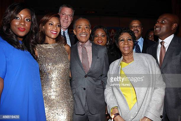 Dominique Sharpton Aisha McShaw NYC Mayor Bill de Blasio Reverend Al Sharpton Ashley Sharpton and Aretha Franklin celebrate Al Sharpton's 60th...