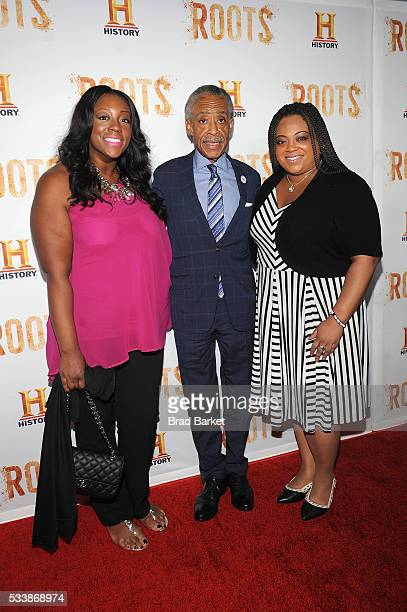 Dominique Sharpton Al Sharpton and Ashley Sharpton attend the premiere screening of Night One of the four night epic event series Roots hosted by...