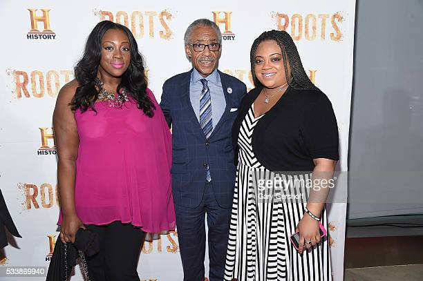 Dominique Sharpton Al Sharpton and Ashley Sharpton attend the Roots night one screening at Alice Tully Hall Lincoln Center on May 23 2016 in New York...