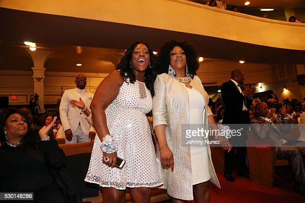 Dominique Sharpton and Kathy Jordan Sharpton celebrate Kathy Jordan Sharpton's birthday at Canaan Baptist Church of Christ on May 9 2016 in New York...