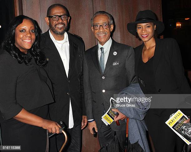 Dominique Sharpton Forest Whitaker Al Sharpton and girlfriend Aisha McShaw pose backstage at the hit play Hughie on Broadway at The Booth Theatre on...