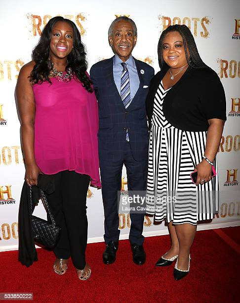 Dominique Sharpton Rev Al Sharpton and Ashley Sharpton attend Roots Night One Screening at Alice Tully Hall Lincoln Center on May 23 2016 in New York...