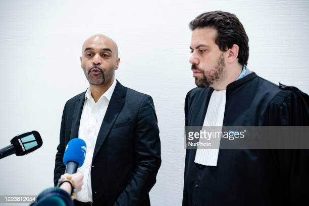 Dominique Sopo, president of SOS Racisme, and his lawyer Patrick Klugman speak before the start of the hearing on 1 July 2020, when the polemist Eric...