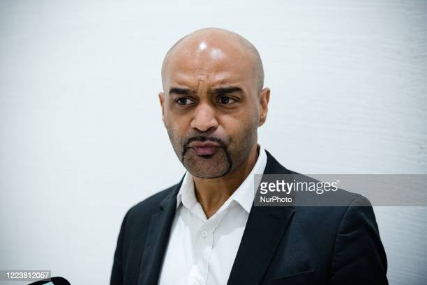 Dominique Sopo, president of SOS Racisme, represented by his lawyer Patrick Klugman, speaks before the beginning of the hearingat t he Paris' court,...